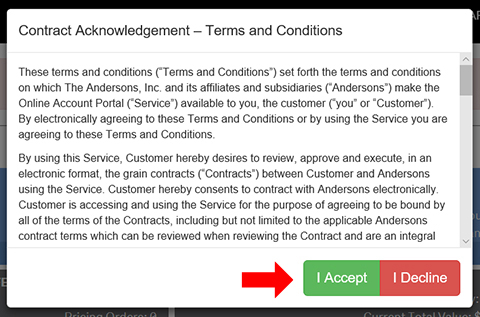 The Andersons GRAINweb Contract Acknowledgement